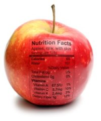 Apple with nutriton facts